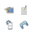 work with technology rgb color icons set vector image