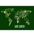World map icon composed of ecology symbols vector image