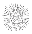 Young Man meditates in the Lotus position Linear vector image vector image