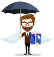 young man with wings holding a gift for you under vector image vector image