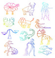 Zodiac signs line art set vector image