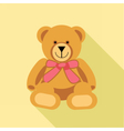 Digital bear toy with pink ribbon vector image