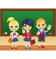 Smiling schoolchildren near blackboard vector image