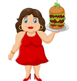 Cartoon overweight woman holding fast food vector image