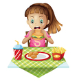 a hungry child eating vector image vector image