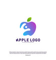 apple with fun people healthy life logo concept vector image vector image