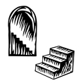 Artistic symbol of a steps Black and white steps S vector image vector image