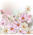 background or with cosmos flowers in retro style vector image vector image