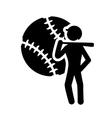 ball player baseball sport design vector image vector image