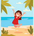 beautiful girl jumping happy on tropical beach vector image vector image