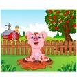 Cartoon cute baby pig in the garden vector image vector image