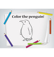 children penguin coloring worksheet vector image vector image
