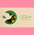 christmas and new year paper cut bird web banner vector image