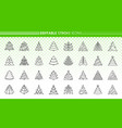 christmas tree simple black line icons set vector image