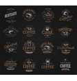 coffee vintage logos set freshly brewed caffeine vector image vector image