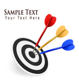 color darts hitting a target vector image