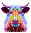 colorful bull pop art style isolated on white vector image vector image