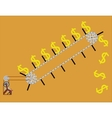 conveyor lifts the dollar vector image vector image