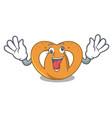 crazy pretzel mascot cartoon style vector image vector image