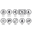cryptocurrency set with name vector image