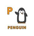 cute cartoon animals alphabet penguin vector image vector image
