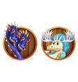 Dragons on wooden round badges vector image vector image