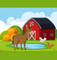 farm animals at the barn vector image