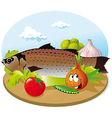 fish with vegetable vector image vector image