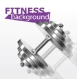 Fitness background with metal realistic dumbbell vector image vector image