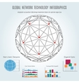 global network technology infographics with sphere vector image vector image