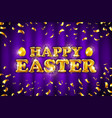 gold happy easter balloon drawn on violet vector image