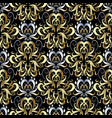 gold silver 3d damask seamless pattern floral vector image