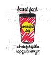 handwritten brush letters on grunge background vector image vector image