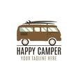 Happy camper logo design Vintage bus vector image vector image