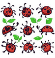 ladybug or ladybird and leaves bug or insect vector image vector image