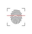 laser scanning of fingerprint of digital vector image vector image