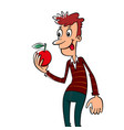 man with an apple vector image