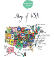 map of attractions of united states of america vector image vector image