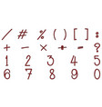 math signs and numbers in red vector image vector image