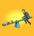 money business balance of a seesaw swing board vector image