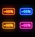 neon 10 off text banner color set night sign vector image vector image