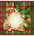 New Year Holiday greeting Card with xmas gingerbre vector image vector image