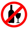 no alcohol warning sign in red circle icon vector image