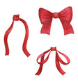 red bows watercolor collection vector image