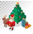 Santa Claus gift box deer tree sometric 3d vector image