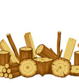 seamless pattern with wood logs trunks and planks vector image vector image