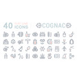 set flat line icons cognac vector image vector image