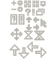 Set of different pixel cell font symbols vector image