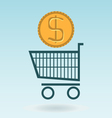 shopping chart with dolar coin vector image vector image