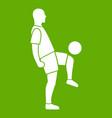 soccer player man icon green vector image vector image